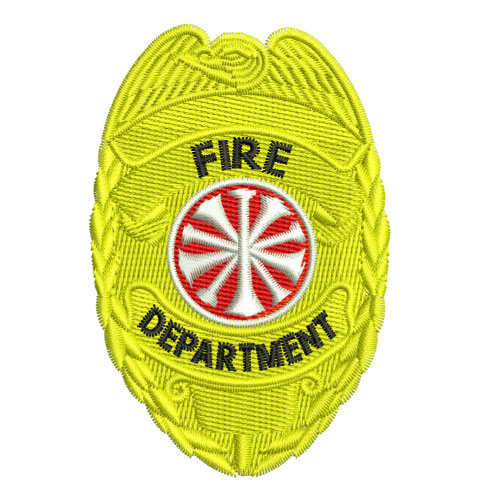 Fire Department Badge Shield Embroidery Design