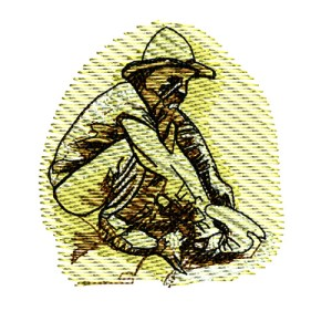 Gold Panning Miner Embroidery Design