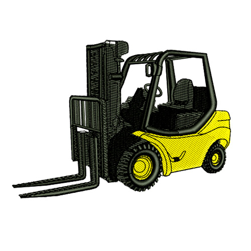 Heavy Equipment Forklift Embroidery Design