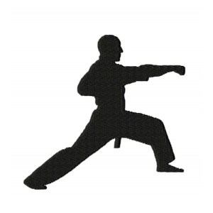 Karate Punch Silhouette Embroidery Design 2