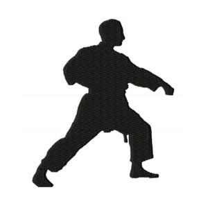 Karate Punch Silhouette Embroidery Design