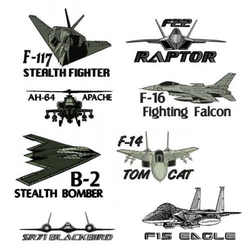 Military Plane Embroidery Design Discount Value Pack 1