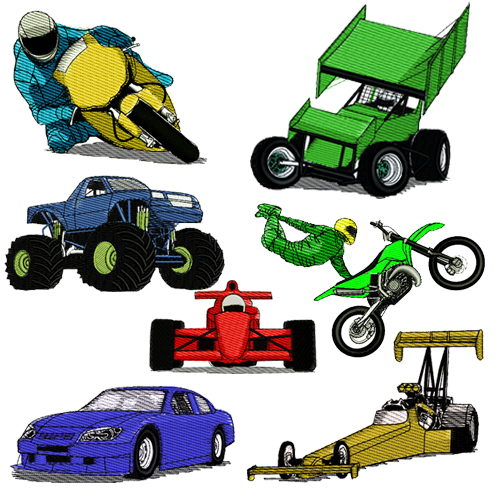 Motorsports Racing Embroidery Design Discount Value Pack