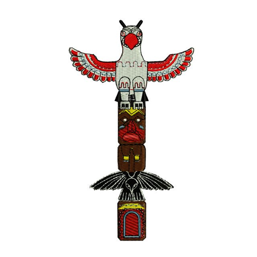 Native American Indian Totem Pole Embroidery Design