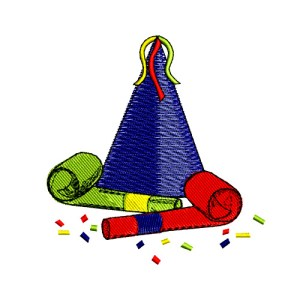Party Favors Hat Embroidery Design