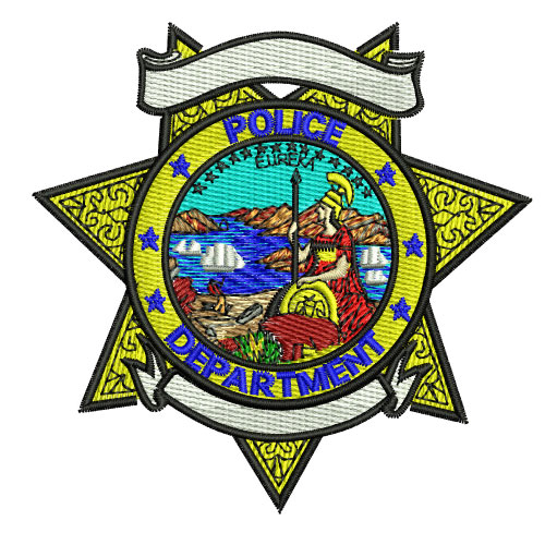 Police Department Badge Star 3 Embroidery Design