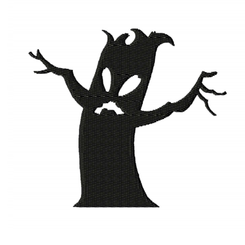 Scary Tree Silhouette Embroidery Design