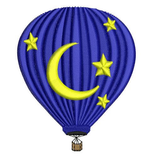 Stars and Moon Hot Air Balloon Embroidery Design