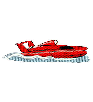 Top Fuel Hydroplane Racing Boat Embroidery Design