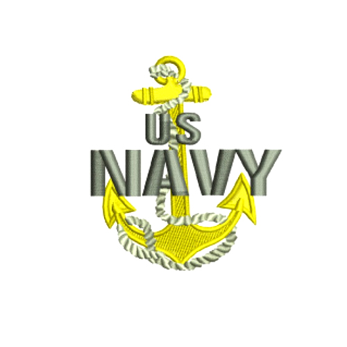 USN Navy Anchor Embroidery Design