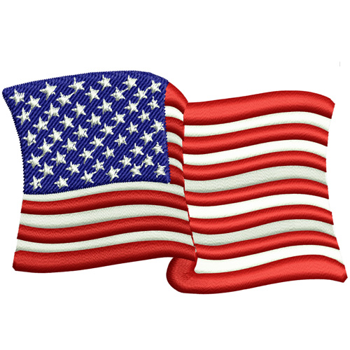 Waving American Flag Embroidery Design