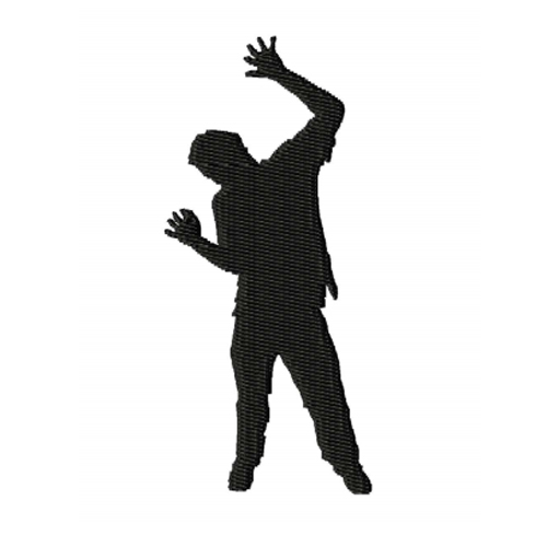 Zombie Silhouette Embroidery Design 2