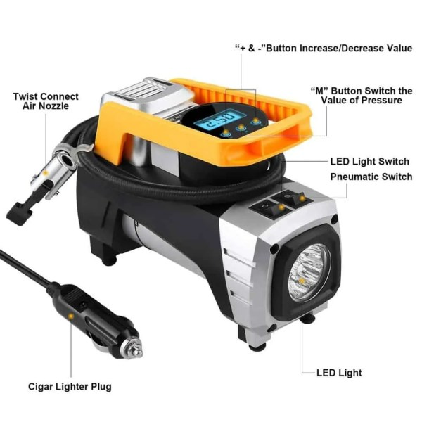 Air Compressor Pump, High-speed inflating, Smart Design, Low-Noise
