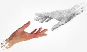 human hand touching digital hand