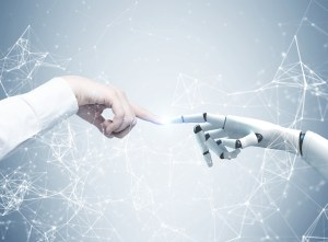 robot hand and human hand touching