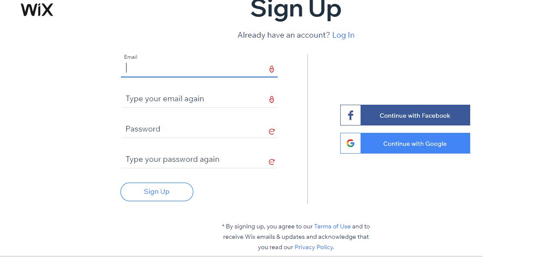 Create a wix website