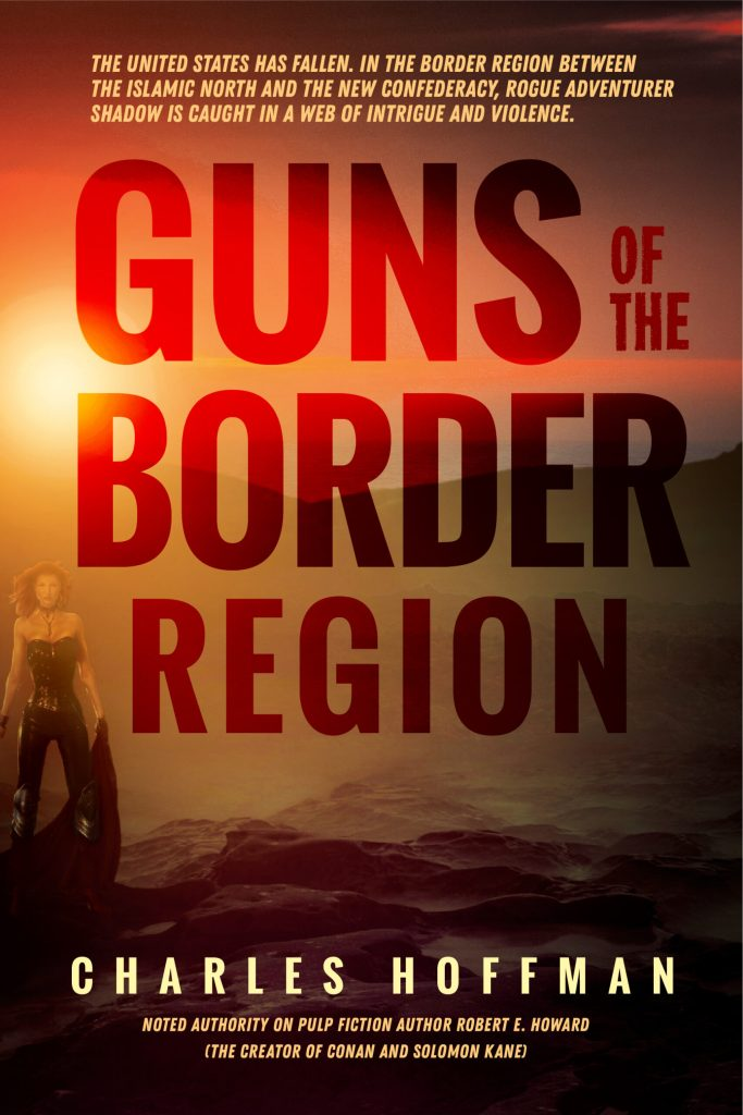 Another alternative redesign for the cover of Guns of the Border Region. This version uses the same background image as the first, but with the title somewhat transparent against the background image.