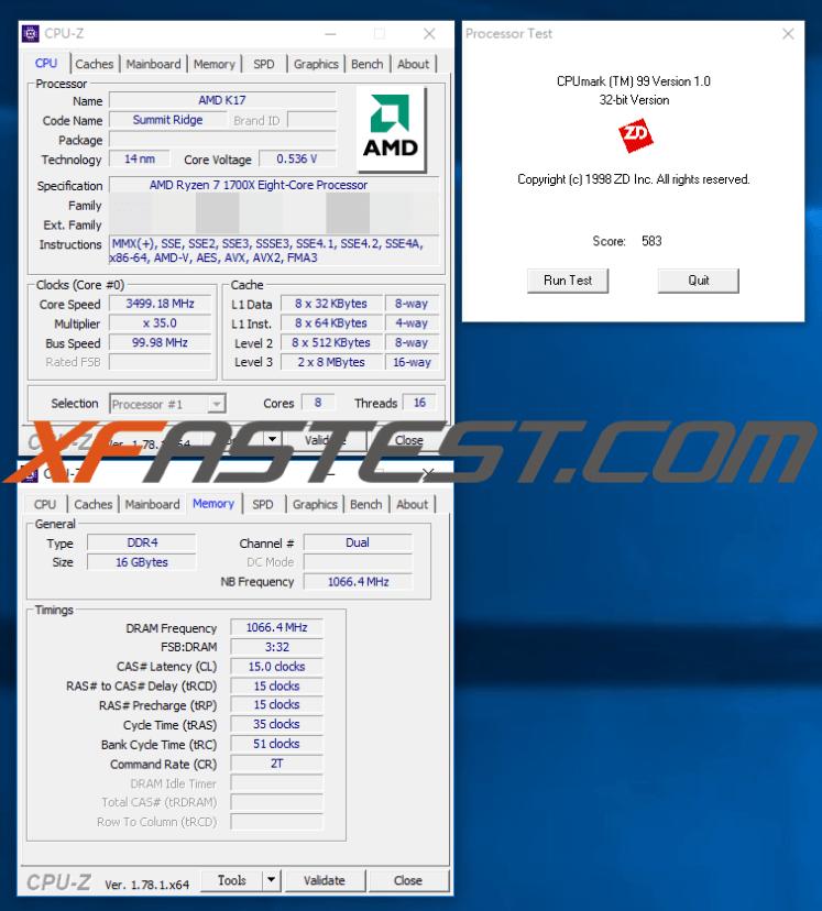 Ryzen 7 1700X CPU-Z benchmark