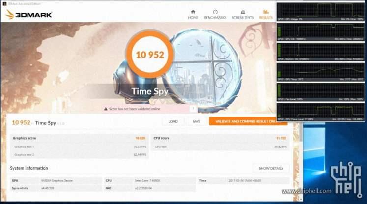 Nvidia GTX 1080 Ti 3DMark Benchmarks - Time Spy OC