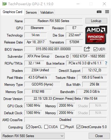 Radeon RX 580 GPU-Z