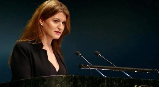 Marlène Schiappa, donnant un discours à la tribune de l'ONU lors de la 63ème session de la commission de la condition de la femme, en août 2019