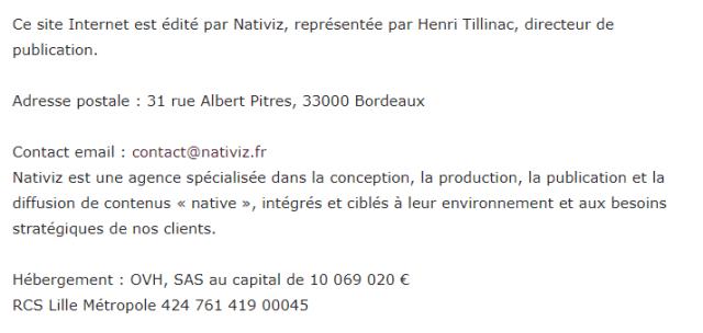 Mentions légales Nativiz