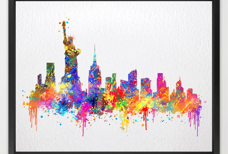 New York Skyline USA United States City Contemporary Watercolor Art Print N389