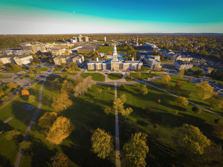 Aerial view of the University at Buffalo South Campus