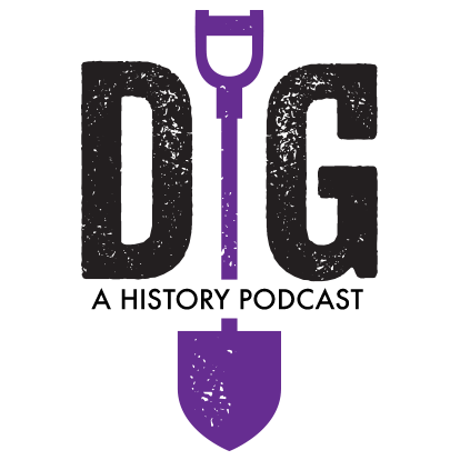 "Lettes D and G, with a shovel in between to represent the letter I - spelling DIG, with ""A History Podcast"" beneath"