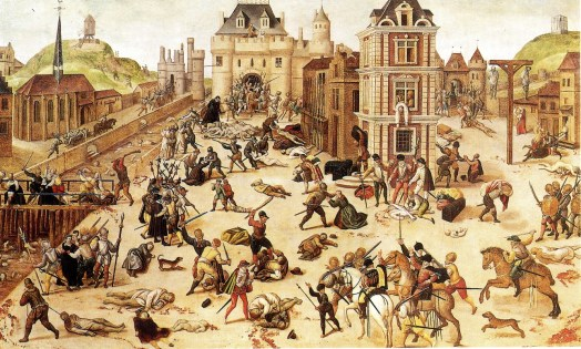 Painting of many people in a village being killed by soldiers with swords