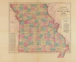 Map of Missouri, 1861. Bleeding Kansas and the American Civil War.