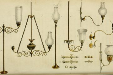 A catalog image of several lamps and chandeliers