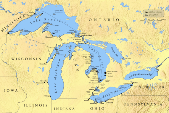 A map of the Great Lakes with small markers in the lakes depicting the places where ships were lost