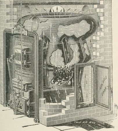 A black and white image of a coal burning stove