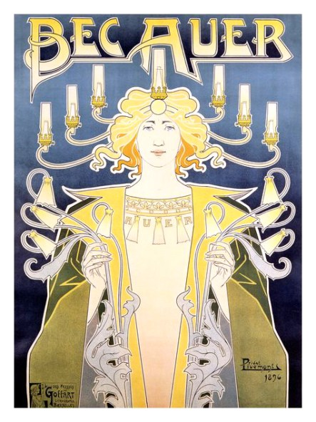 A poster with a drawing of a white woman decorated with candelabras holding gas lamps