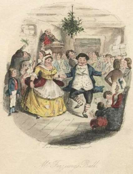 Two jolly, plump people dance beneath a large bouquet of mistletoe handing above them amidst a party scene