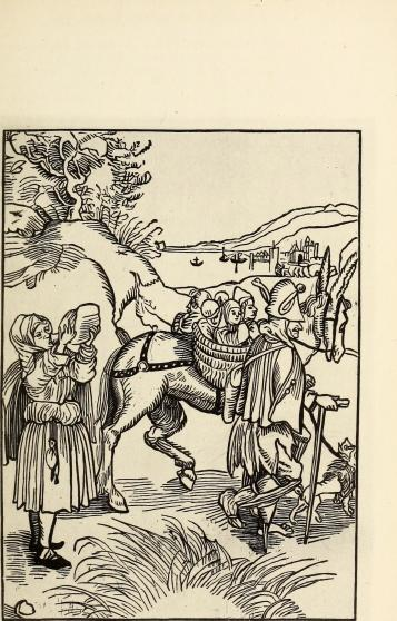 Woodcut image of travellers