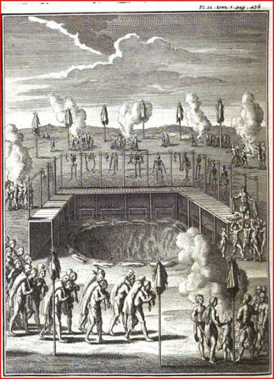 An etching depicting a burial scaffold surrounded by many Wendat people