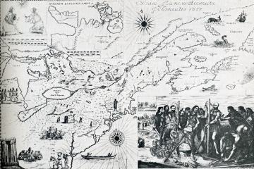 Huron- Wendat Bressani map of 1657 depicts the martyrdom of Jean de Brébeuf and Gabriel Lalemant