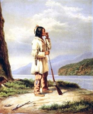 Cornelius Krieghoff, Huron-Wendat Hunter Calling a Moose, ca. 1868 | Public Domain / Wikimedia Commons