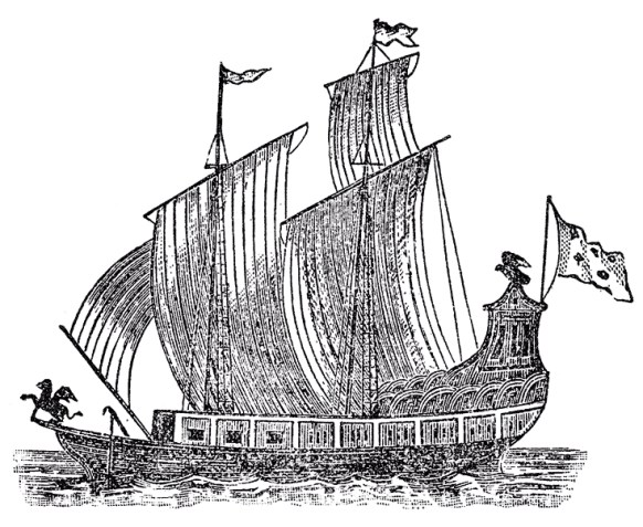 A black and white sketch of a large ship with a griffon statue on the prow