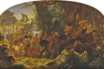 A painting of many small, ominous fairies with small horses carrying off a changeling child