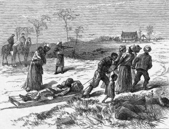 Colfax Massacre - an etching depicting several black men and women dragging an injured man on a stretcher