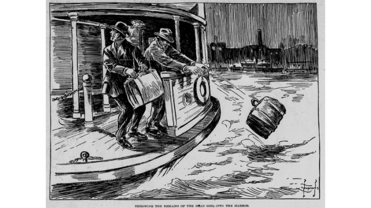 A cartoon sketch of two men on a boat tossing suitcases into a body of water