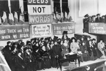 Black and white image of women in political protest