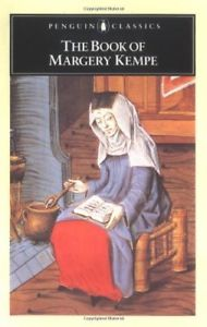 a book cover depicting a medieval painting of a woman writing in a book