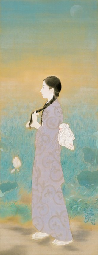 The Cool of the Morning a painting of a young Japanese woman in light, washed out colors