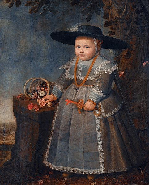 painting of a toddler wearing an elaborate dress and holding flowers
