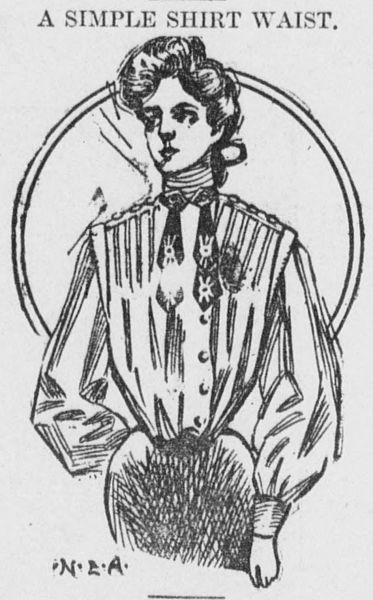 a black and white sketch of a woman wearing a shirtwaist