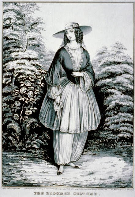 A Victorian woman wearing large, bloused pants